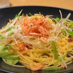 桜海老と二種類のお豆の和ペペロンチーノ