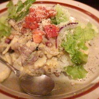 豚バラ肉と木の子のカルボナーラ丼