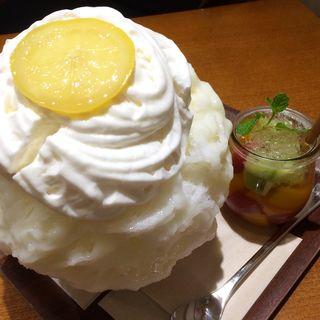 春のフルーツポンチジュレ&レモンレアチーズエスプーマ(銀座のジンジャー 銀座本店 )