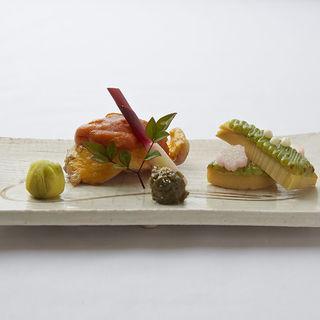 鰆のウニ添え 筍の抹茶ソース(割烹 花和清 (カッポウカワセ))