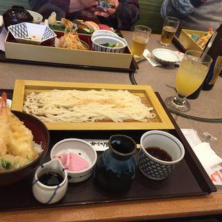 海老と穴子のミニ天丼と麺セット(かごの屋 森小路インター東店 )