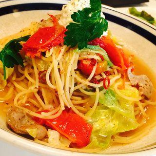 サルシッチャ、キャベツ、リコッタチーズのスパゲッティーニ(MOJA in the HOUSE)