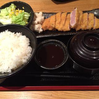 朝挽地鶏むね肉の柔らかレアカツ定食(奥美濃古地鶏 ZENNO )