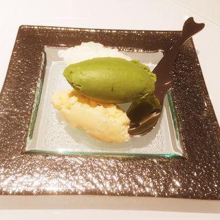 ジェラート2種(沖縄の塩、抹茶、ロイヤルブラウン)(オ・ボルドー・フクオカ )