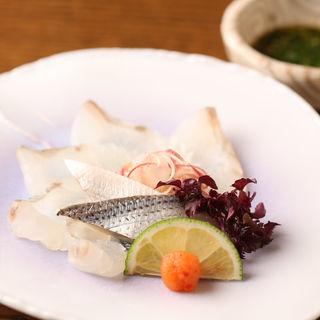 真鯛と鯖のお造り(知仙 (ちせん))