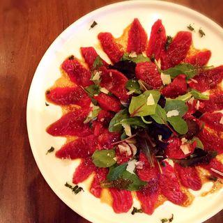 マグロ頰肉のカルパッチョ(ristorante match&832)