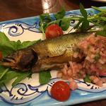 鮎のコンフィ 赤タマネギのソース