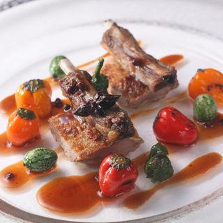 純和鶏とラム肉のグリル トリュフ(エタンセール カワモト)