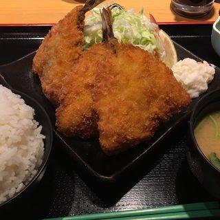 アジフライ定食(ねぎ塩チャーシュー丼 水喜 )
