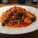 きのことモッツァレラチーズのトマトスパゲティ