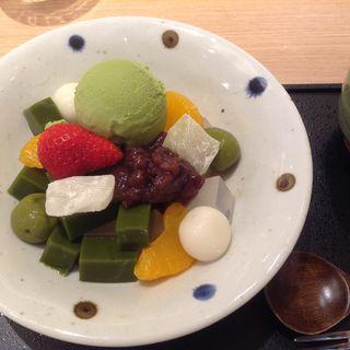 抹茶クリームあんみつ(コヨリカフェ 阪急うめだ本店 )