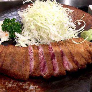 牛カツ 麦飯セット(牛かつ もと村 浜松町店 )