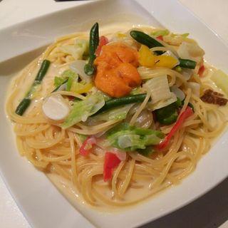 ウニと旬の野菜のクリームソースパスタ(イル・バンカーレ (IL BANCALE))