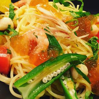 かき氷ぱすた 夏野菜と海老 おだしのジュレ添え(こなな 阪急三番街店 )