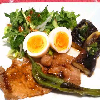 豚肉生姜焼き&ピーマン肉詰めランチ(丘の上 C-flat (シー フラット))