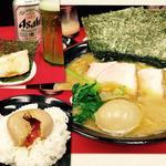 ラーメン(並)海苔 味玉 ライス ビール※おつまみ叉焼付き(田上家)