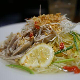蒸し鶏と葱の涼麺(餃子セット)(石庫門 川崎ダイス店)