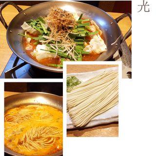 博多もつ鍋(こってり辛味噌仕立て)(大衆居食家 しょうき 西新店 )