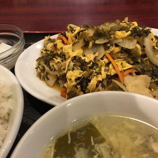 豚肉、玉子と高菜炒め