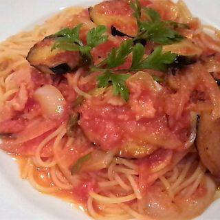 ナスとトマトのスパゲッティ Aディナーセット(ミスト (La cucina Italiana trattoria Misto))