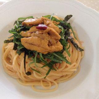 和風生うにとたらこのスパゲティー しそのり添え(パスタ・エ・カフェ・シオサイ (PASTA e CAFE SHIOSAI))