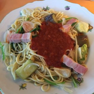 野菜とトマトソース ランチセット(スパゲッテリアマッキー di Hayashida (スパゲッテリアマッキー ディ ハヤシダ 【旧店名】スパゲティハウス マッキー いつきの家))