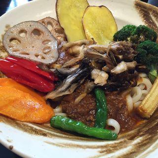 キーマカレーうどん+揚げ野菜トッピング(游喜庵(遊喜庵) 伊香保店 (ゆうきあん))