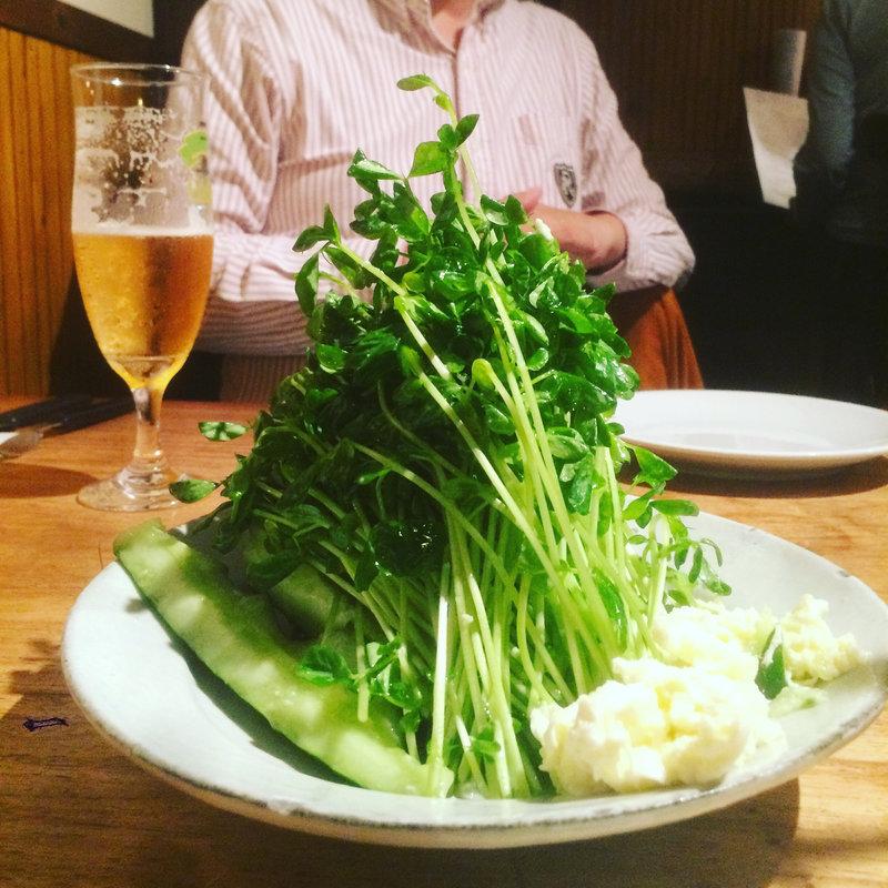 たたききゅうりと豆苗とモッツァレラチーズのサラダ