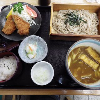 ヒレカツとカレーつけ汁そば(大名)