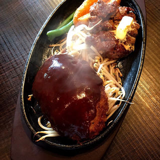ステーキ&ハンバーグコンビ(1ポンドの ステーキ ハンバーグ タケル 福島店 )
