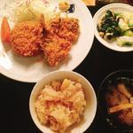 メンチカツとアジフライ定食