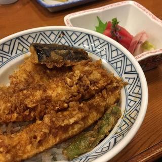 天丼とおさしみのAセット(のれんと味 だるま料理店 (のれんとあじ だるまりょうりてん))