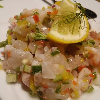 甘エビと鮮魚のタルタルセビーチェスタイル(デリリウムカフェ ギンザ)