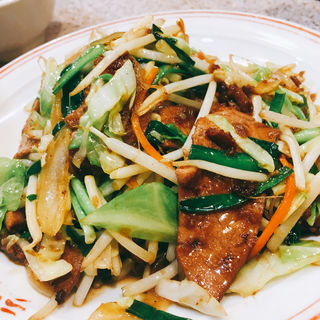 ニラレバ炒め定食(ラーメン王 後楽本舗)