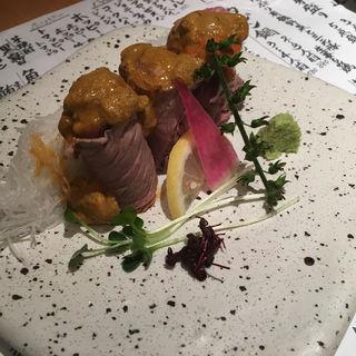 生うに牛肉巻き(日菜魚 (ひなうお))