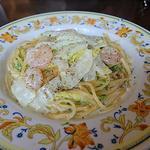 海老と白菜と生海苔のクリームソース(パスタランチ)