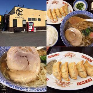 らーめん+揚げ餃子+ライス(笑まる (しょうまる))