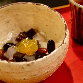 自家製黒豆抹茶みつ豆(茶房 野の花)