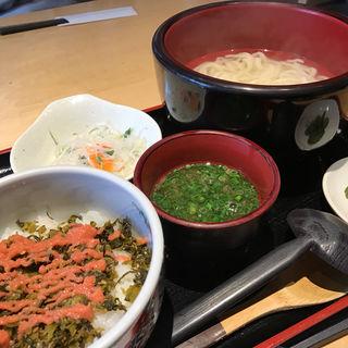 釜揚げうどん定食/明太高菜ご飯セット(釜あげうどん はつとみ )