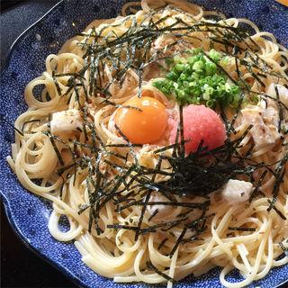 たらこと湯葉とモッツァレラチーズのカルボナーラ(五右衛門 姫路土山店 )