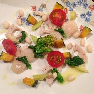 ホタテと冬野菜のカルパッチョ(コノ花まひろ )