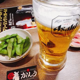 生ビール(新鮮とんちゃんセンターかわしょう)