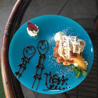 モンブランワッフル(そばカフェ ほどほど)