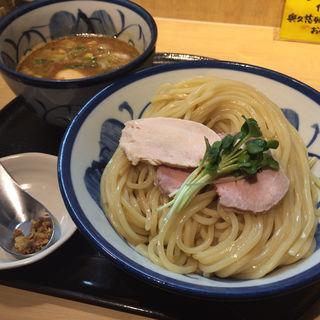 鶏と魚介の煮卵つけめん(つけ麺 たけもと)