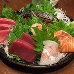 刺身5点盛り+炙りしめ鯖