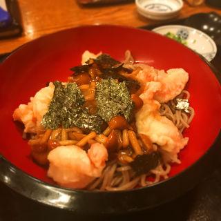 小海老の天ぷらとなめこおろし蕎麦(笑笑庵 (しょうしょうあん))