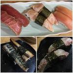 握り マグロの赤身、備長マグロ、金目鯛、鯖の炙り、いさき