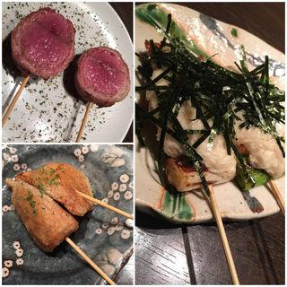 仔羊の香草焼き、筍、山芋ネギマ(きんぼし )