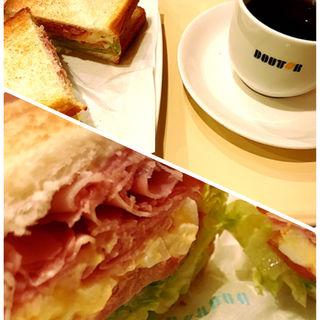 朝カフェ A セット ハムタマゴサラダ(ドトールコーヒーショップ 地下鉄博多駅博多口店)