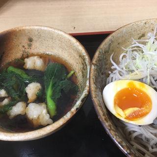牛モツと菜の花のつけ蕎麦(そば処 えきめんや 品川店 )